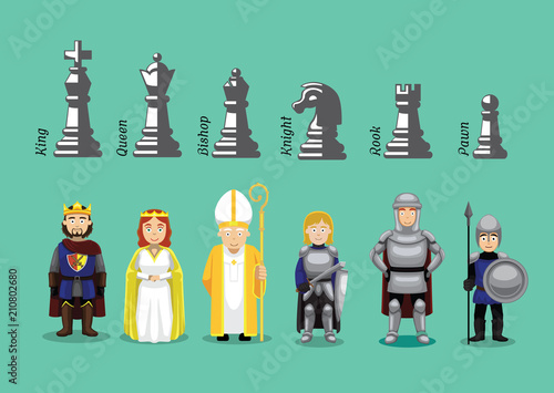 Leinwand Poster Chess Medieval Character Cartoons Vector