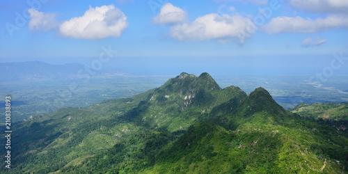 Fototapeta Landscape on the green mountain range over Haiti