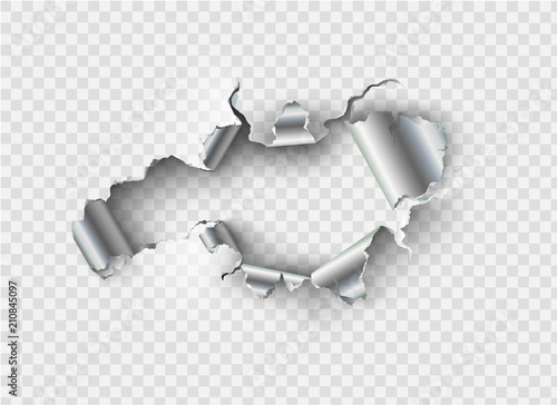 ragged Hole torn in ripped metal