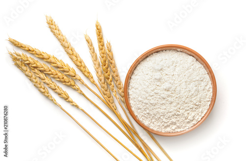 Top view of wheat flour and  ears Fototapet