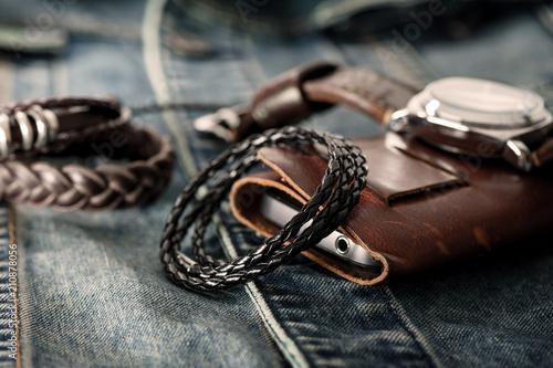 Stampa su Tela black braided leather bracelet
