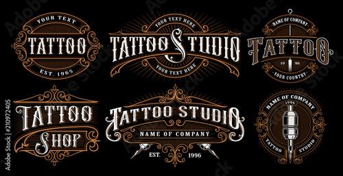 Set of vintage tattoo emblems (VERSION FOR DARK BACKGROUND)