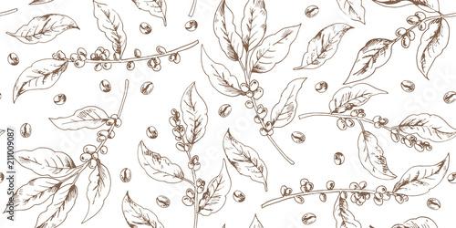 Obraz na płótnie Botanical seamless pattern with coffee branches and beans