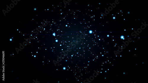 Photo Abstract 3d illustration background with blue and white particles in slow motion