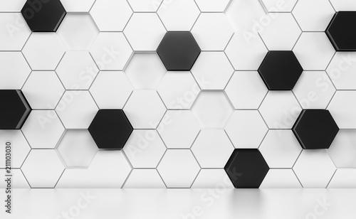 Fototapeta premium Pokój Abstact z białą podłogą i futurystyczną białą i czarną ścianą. Renderowania 3d