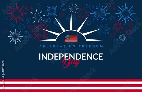 Obraz na płótnie Happy 4th of July fireworks - Independence Day USA blue background with the Unit