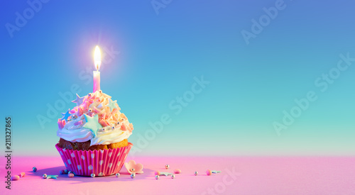 Canvas Print Birthday Cupcake With One Candle