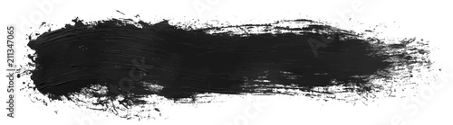 Fotografia, Obraz Long hand drawn isolated paintbrush stripe with dirty black color esp 10 vector