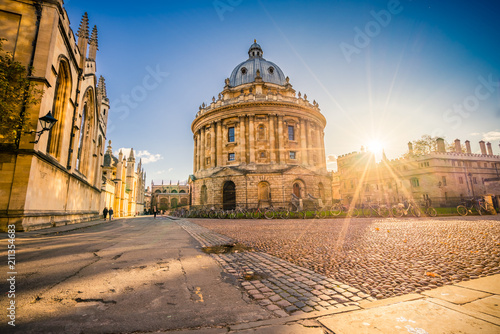 Stampa su Tela Radcliffe Science Library with sunset flare.Oxford, England