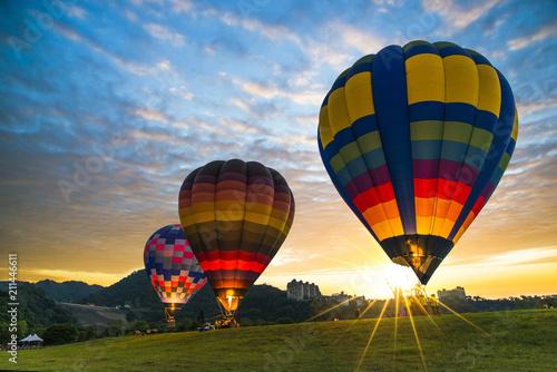Hot air balloon ready to fly. Fototapeta