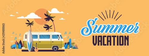 Obraz na płótnie Summer vacation surf bus sunset tropical beach retro surfing vintage greeting ca