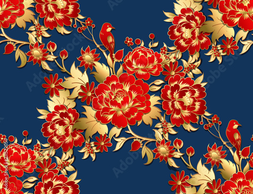Seamless pattern with red flowers with golden leaves Fototapeta