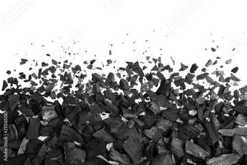 Leinwand Poster Charcoal or coal carbon texture hi resolution isolated on white background