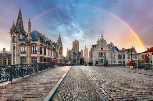 Rainbow over Ghent, Belgium old city