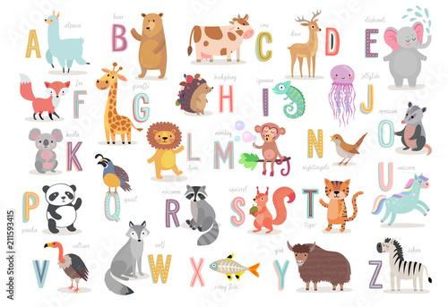 Obraz na płótnie Cute Animals alphabet for kids education
