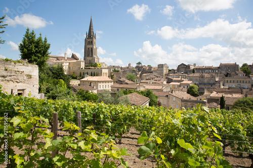 landscape view of Saint Emilion village in Bordeaux region in France Fototapet
