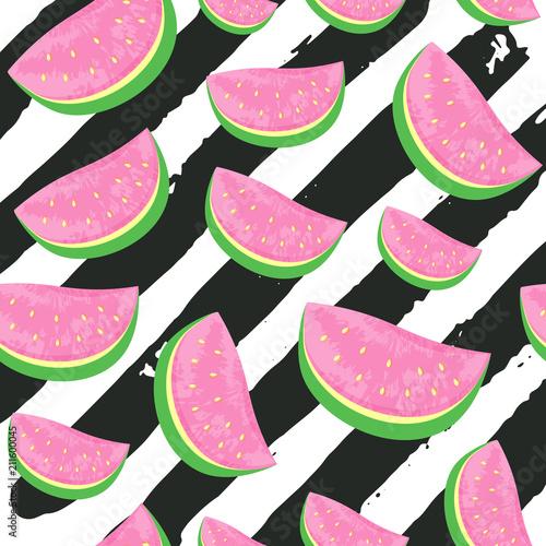 Fototapeta Bezszwowy arbuza wzór odizolowywający na ręka ry