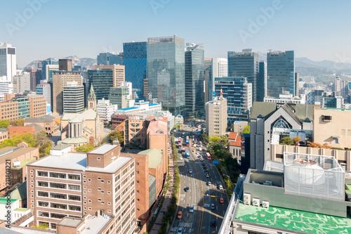 Fototapeta premium myeongdong Downtown pejzaż miejski w Korei Południowej
