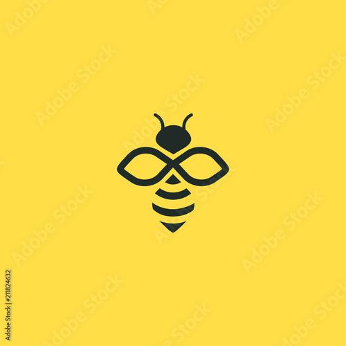 Fotografia Bee logo vector outline minimalist graphic vector