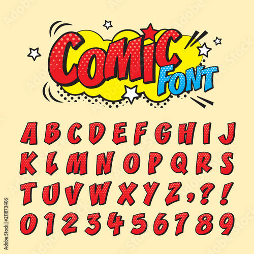 Comic retro font set Fototapeta