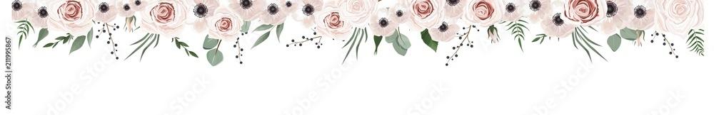 Horisontal botaniczny projekt wektor banner. Różowa róża, eukaliptus, sukulenty, kwiaty, zieleń. Karta lub ramka z naturalnej wiosny. <span>plik: #211995867 | autor: Anastasiya </span>