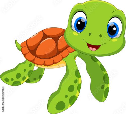 Fototapeta premium Ładny żółw morski kreskówka na białym tle