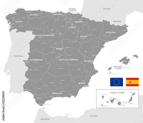 Canvas Print Grey Vector Political Map of Spain