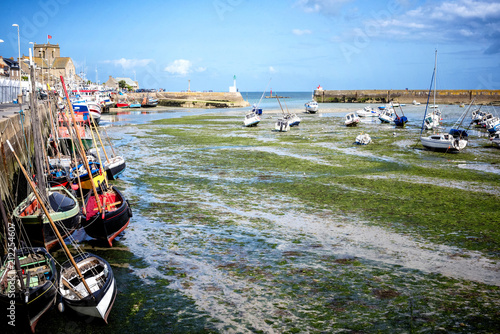 Canvas Print BARFLEUR: Fishing and recreational boats at low tide in the harbor of Barfleur