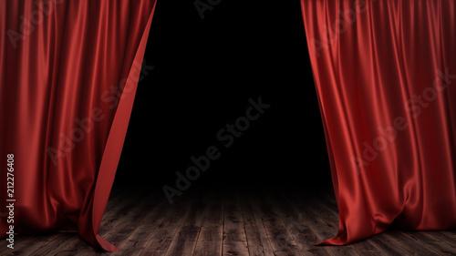 Fotografia 3D illustration luxury red silk velvet curtains decoration design, ideas