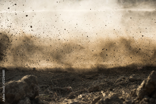 Fotografie, Obraz dirt fly after motocross roaring by