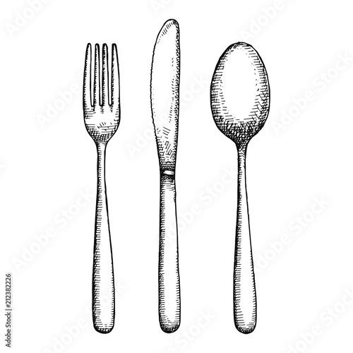Obraz na plátně cutlery hand drawing vector. isolated spoon fork and knife