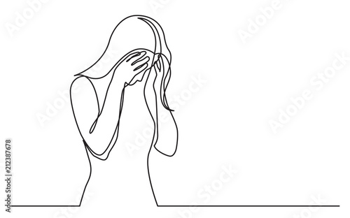 Fotografija continuous line drawing of woman hiding her face in despair