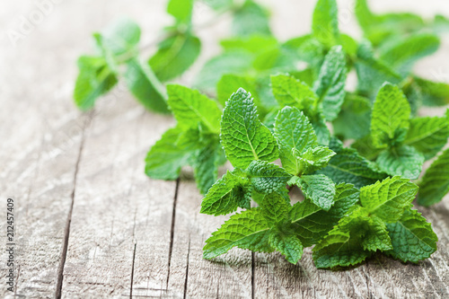 Mint leaf on rustic wooden table.