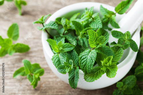 Fresh mint leaves in mortar bowl.