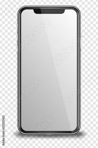 Smart phone with blank screen on transparent background. #212531423