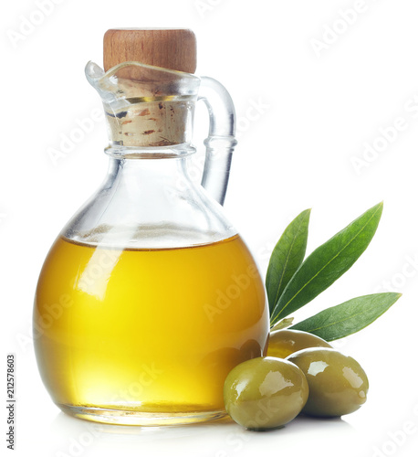 Stampa su Tela Bottle of olive oil and green olives with leaves