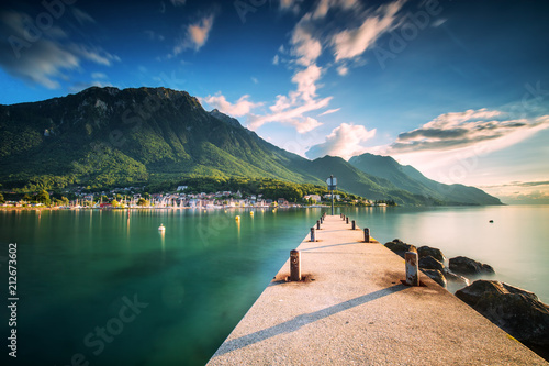 Wallpaper Mural Sunset at Port Valais town with Swiss Alps near Montreux, Switzerland, Europe
