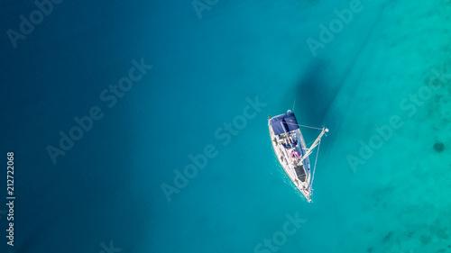 Canvas Print Sailing boat anchoring in Croatia bay, aerial view.