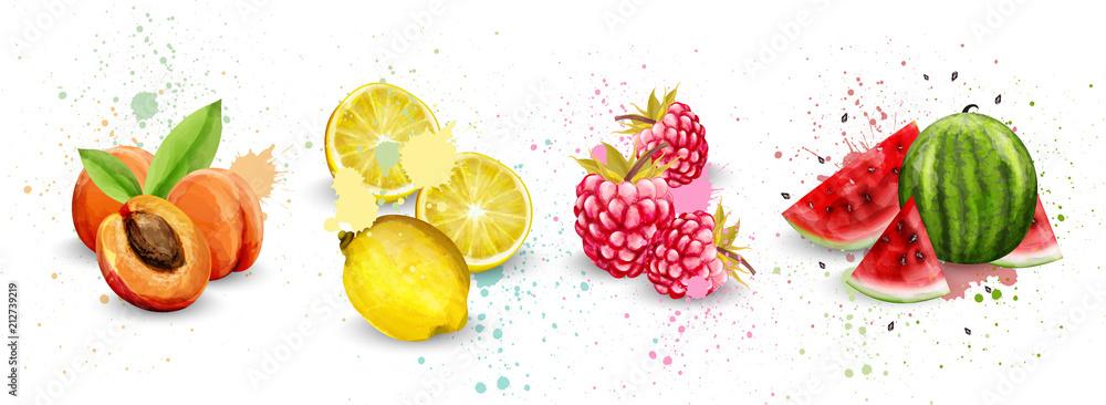 Watercolor fruits set Vector. Apricot, lemon, raspberry, watermelon delicious illustrations
