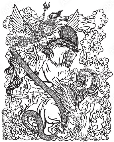 Fotografie, Obraz the mythological hero Bellerophon riding the divine winged horse Pegasus and killing the monster creature as the Chimera