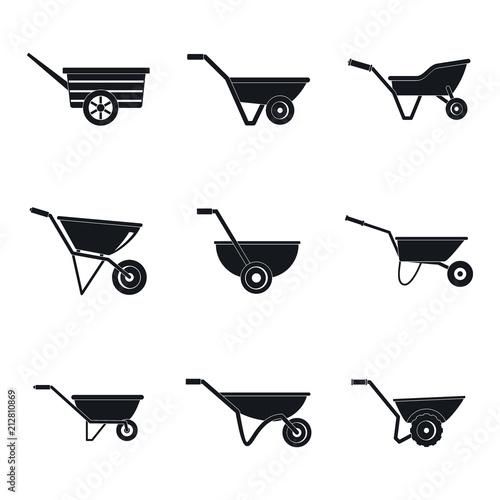 Canvas Print Wheelbarrow garden plant yard icons set
