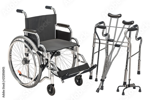 Fotografia Wheelchair, walking frame and crutches, 3D rendering
