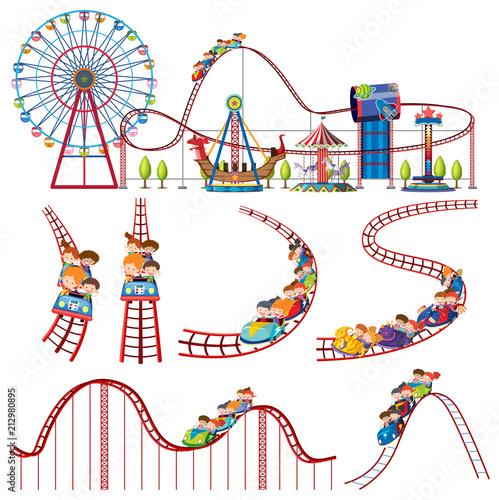 Leinwand Poster A set of fun park roller coaster