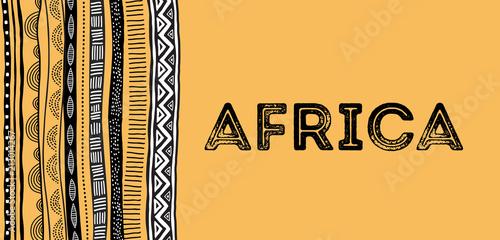 Afrykański tło, ulotka z plemiennym tradycyjnym grunge wzorem