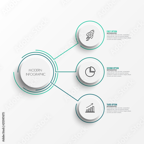 Canvas Print Abstract elements of graph infographic template with label, integrated circles