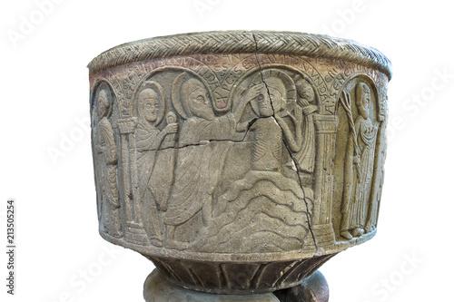 Fotografija The Baptism of Jesus in the river Jordan on an isolated Baptismal font