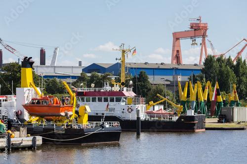 Canvastavla ships in the emden city harbor in lower saxony germany