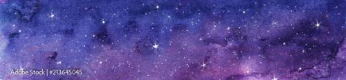 Fototapeta premium Ręcznie malowane akwarela ilustracja nocne niebo
