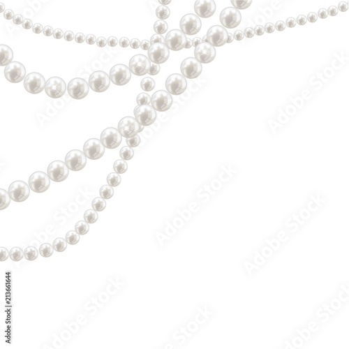 Photo Vector pearl necklace on light background