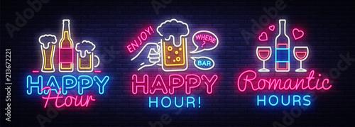 Fotografie, Tablou Happy Hour neon sign collection vector